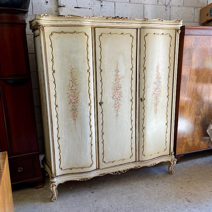 Large Ornate Parcel Gilt Armoire