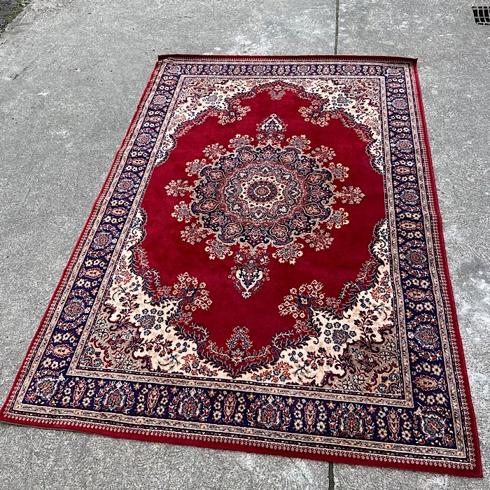 Large Traditional Deep Red & Cream rug