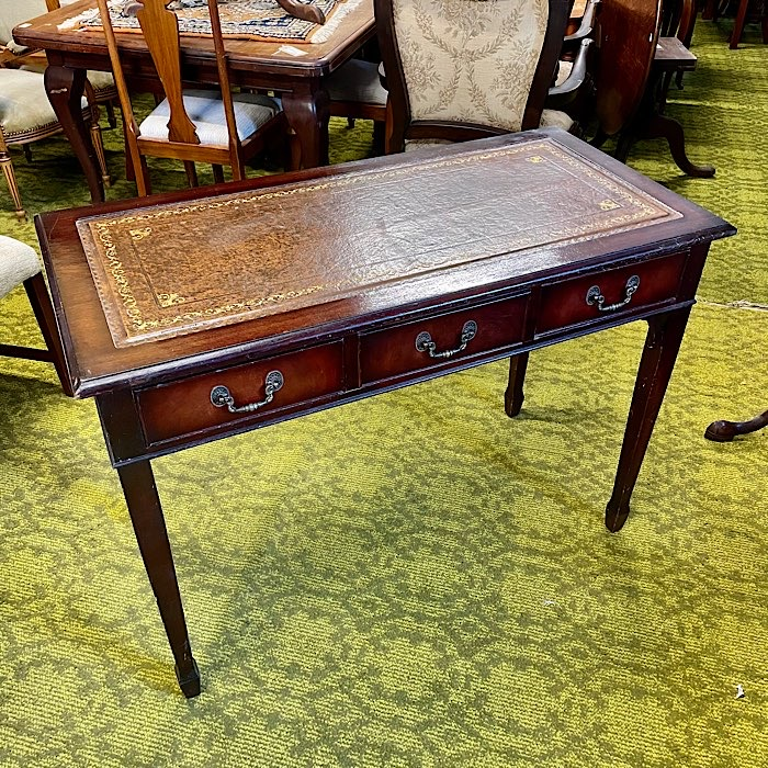 Mahogany Brown Leather Topped Three Drawer Writing Table