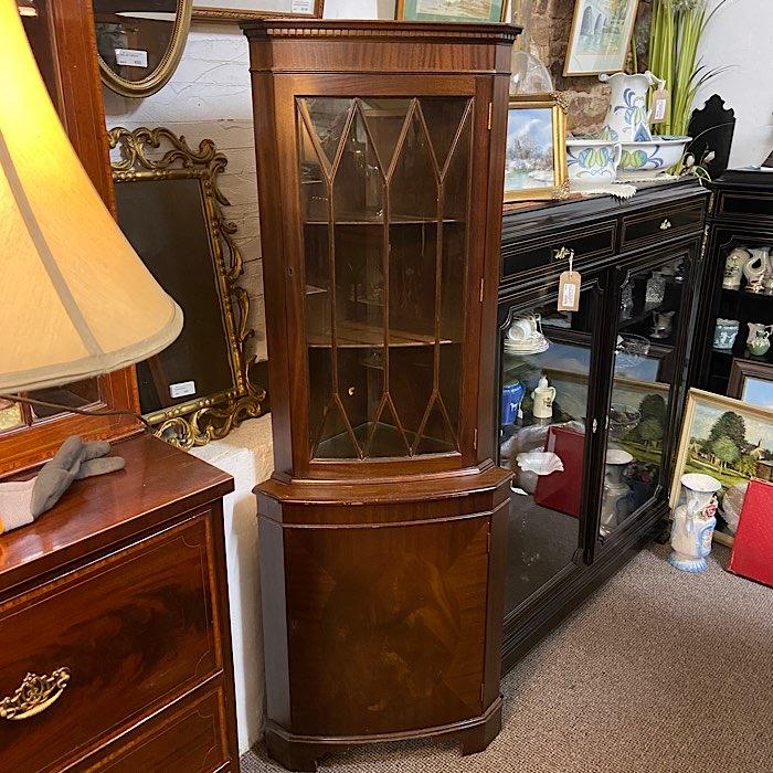 Mahogany Freestanding Glazed Corner Cabinet