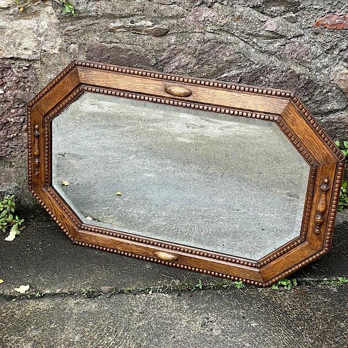 Octagonal Oak Framed Beveled Mirror