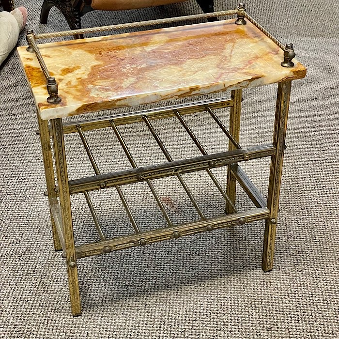 Onyx & Brass Occasional Table