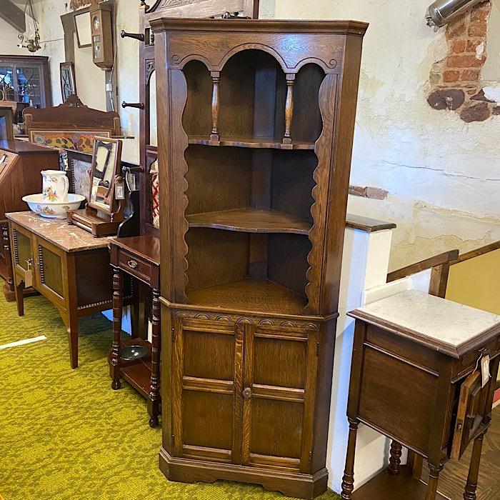 Open Oak Corner Cabinet