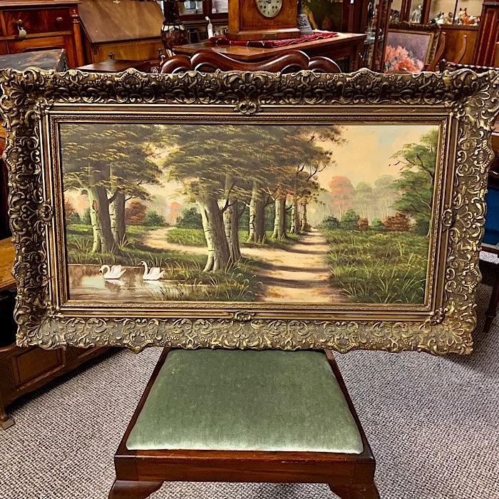 Ornate Framed Lake Scene Painting