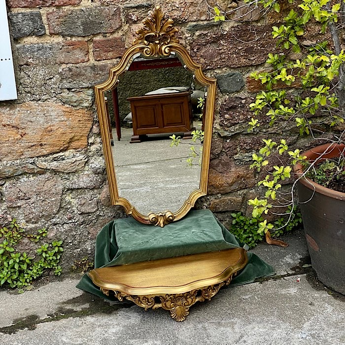 Ornate Gilt & Beveled Mirror Shelf