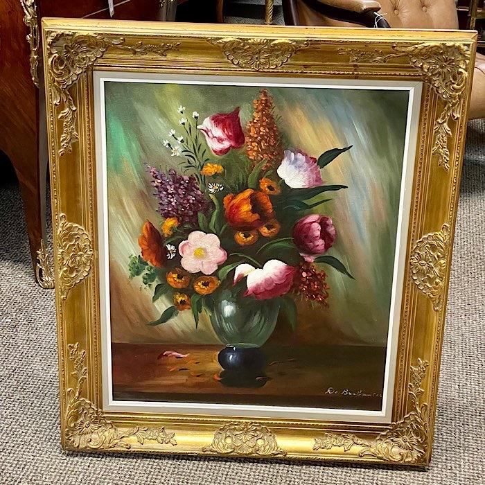 Ornate Gilt Framed Oil On Canvas Flowers
