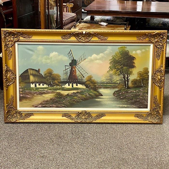Ornate Gilt Framed Oil On Canvas Windmill