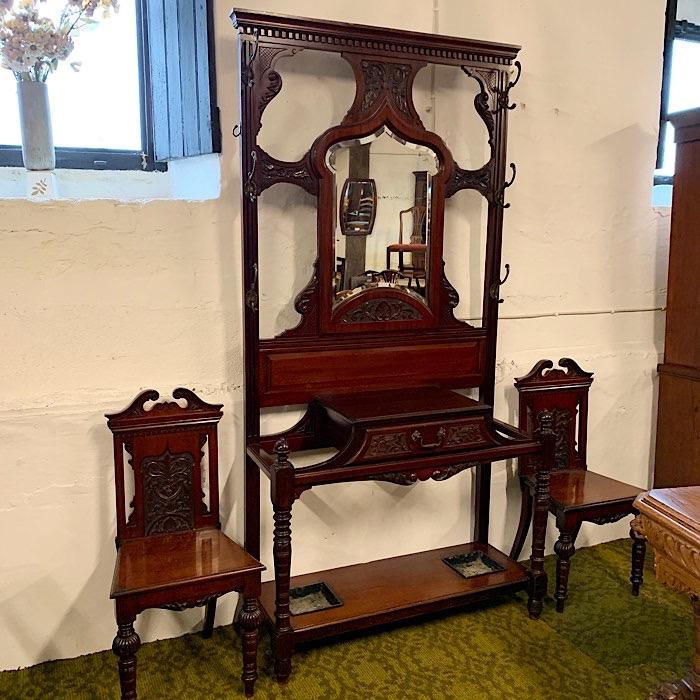 Ornate Victorian Mahogany Hall Stand & Matching Hall Chairs