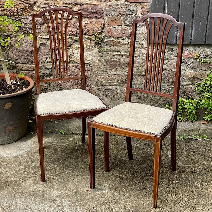 Pair Edwardian Inlaid Mahogany Bedroom Chairs