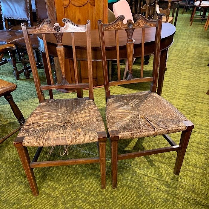 Pair of Inlaid Rush Seat Chairs
