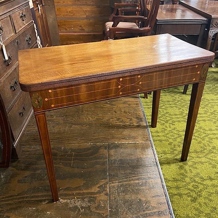Regency Inlaid Mahogany Fold-Over Tea Table