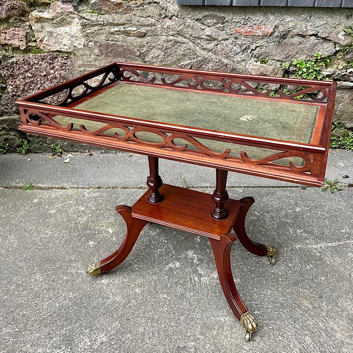 Regency Style Mahogany & Green Leather Topped Silver Table