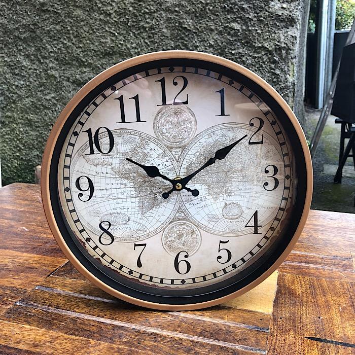 Retro World Map Round Wall Clock