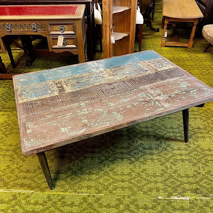 Rustic Metal Base Coffee Table