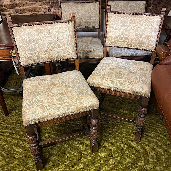 Set Of 4 Oak And Tapestry Dining Chairs