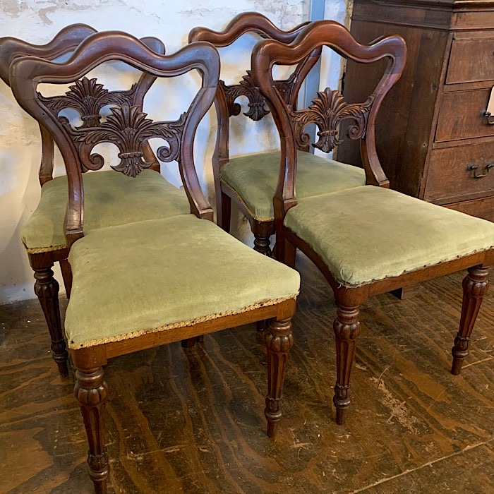 Set Of Four Kidney Back Dining Chairs
