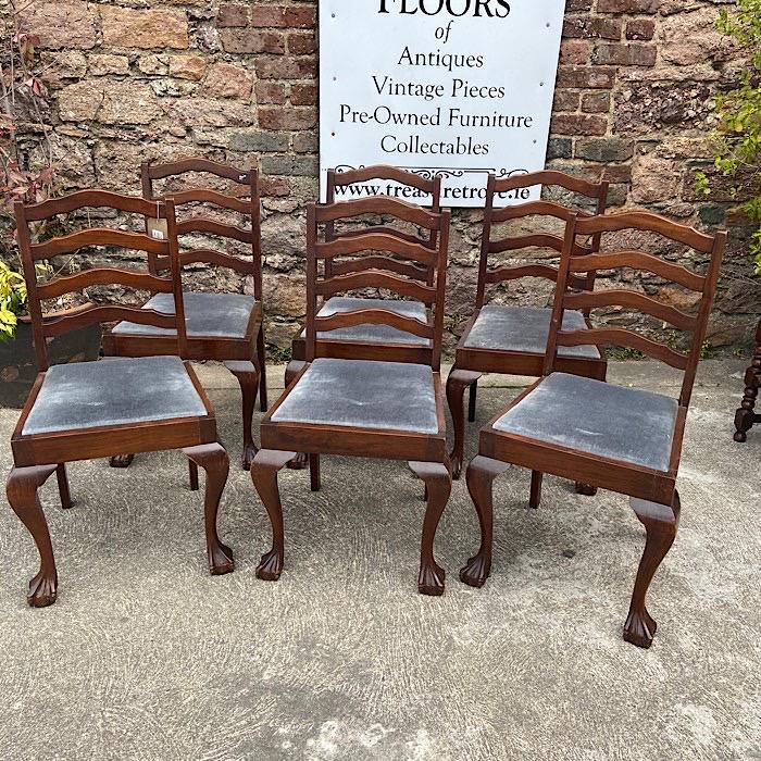Set Of Six Ladderback Mahogany Dining Chairs