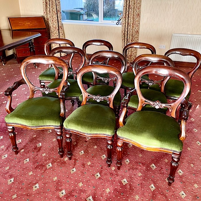 Set Of Ten Mahogany Balloon Back Dining Chairs