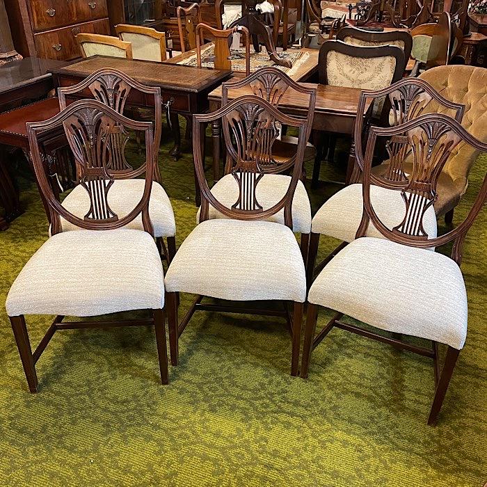 Six Hepplewhite Revival Mahogany Dining Chairs
