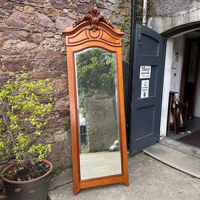 Tall Ornate Carved Oak Framed Mirror