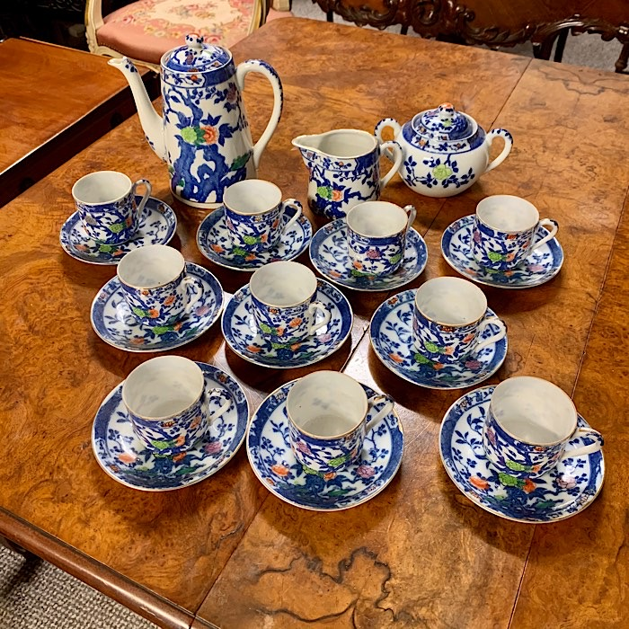 Ten Setting Blue Floral Tea Set