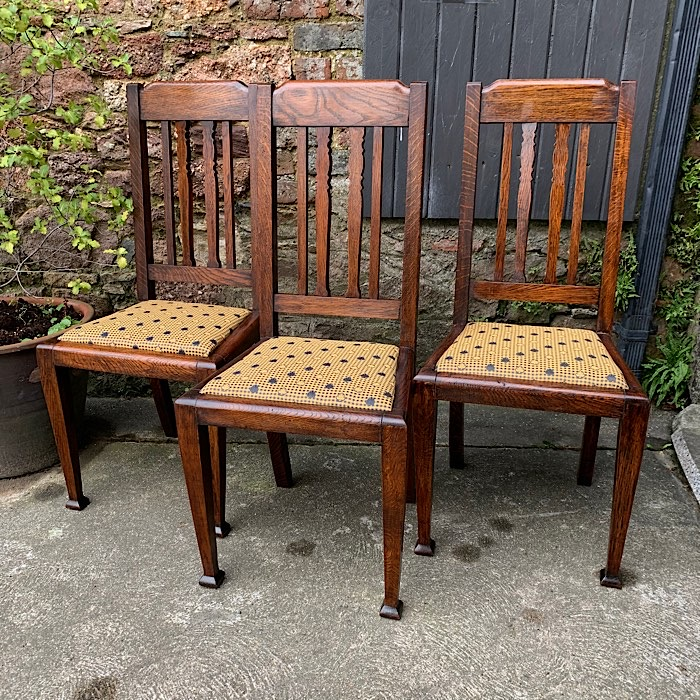 Three Arts & Crafts Oak Dining Chairs