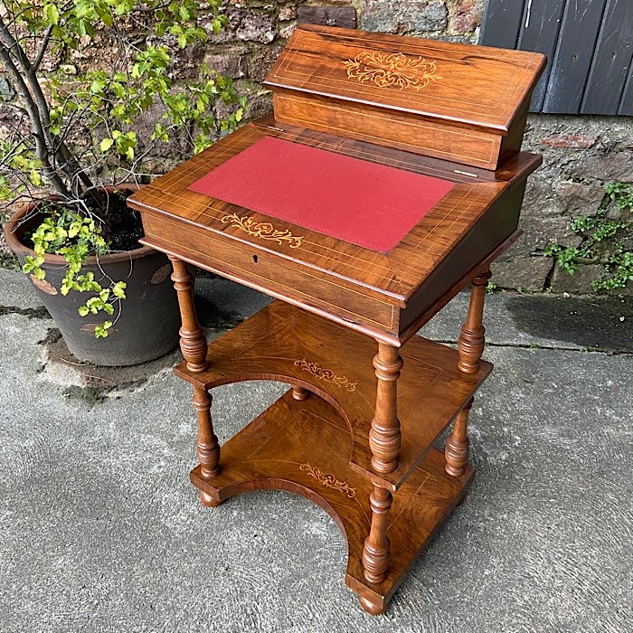 Two Tier Inlaid Rosewood Davenport
