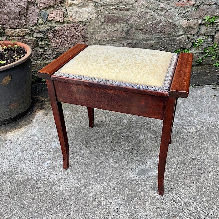 Upholstered Beech Piano Stool