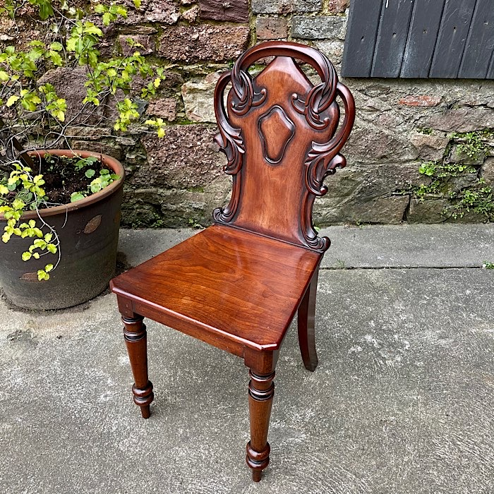 Victorian Carved Mahogany Hall Chair