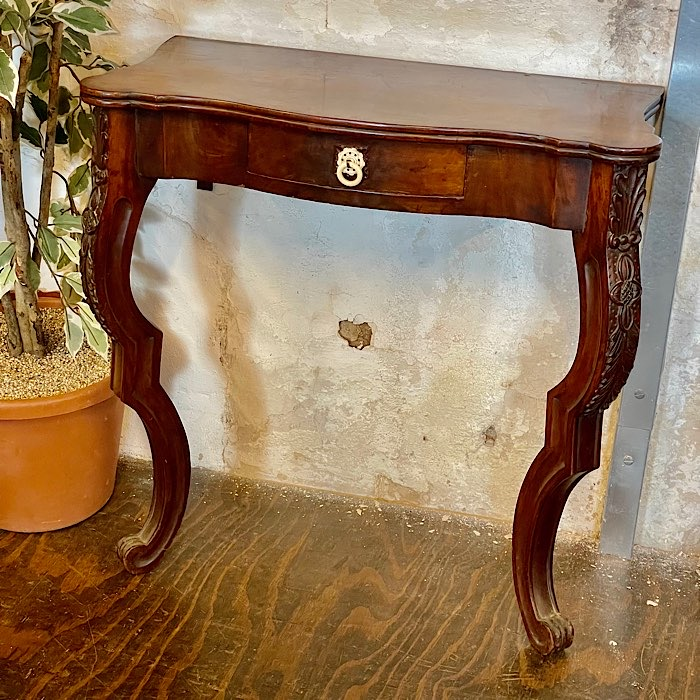 Victorian Carved Mahogany Serpentine Console Table