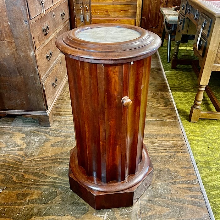 Victorian Cylindrical Marble Top Pot Cupboard
