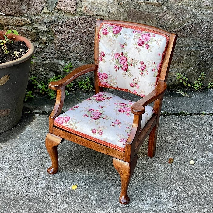 Victorian Mahogany Upholstered Childs Chair