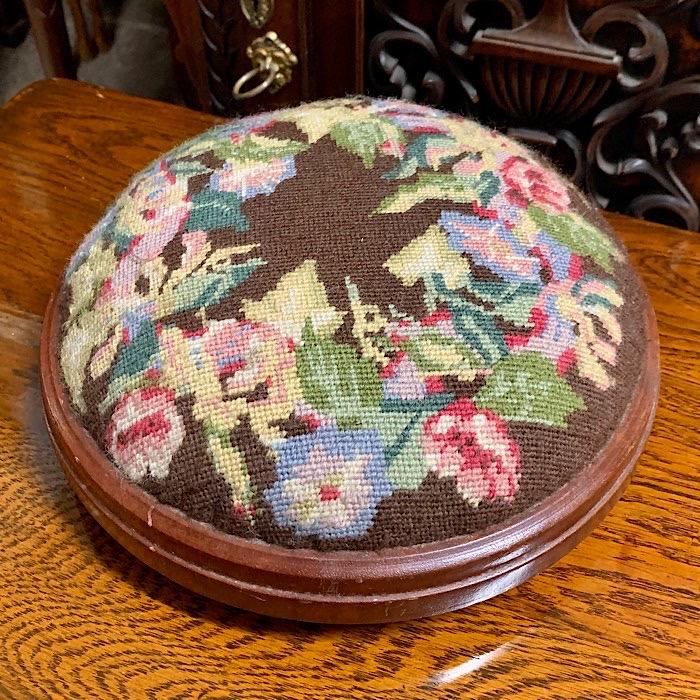Victorian Style Mahogany Needlepoint Footstool