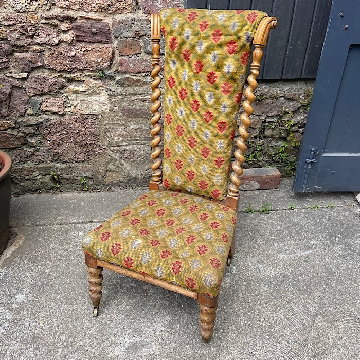 Victorian Walnut And Upholstered Nursing Chair