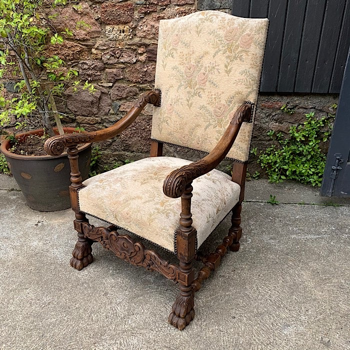 Vintage Carved Oak Armchair