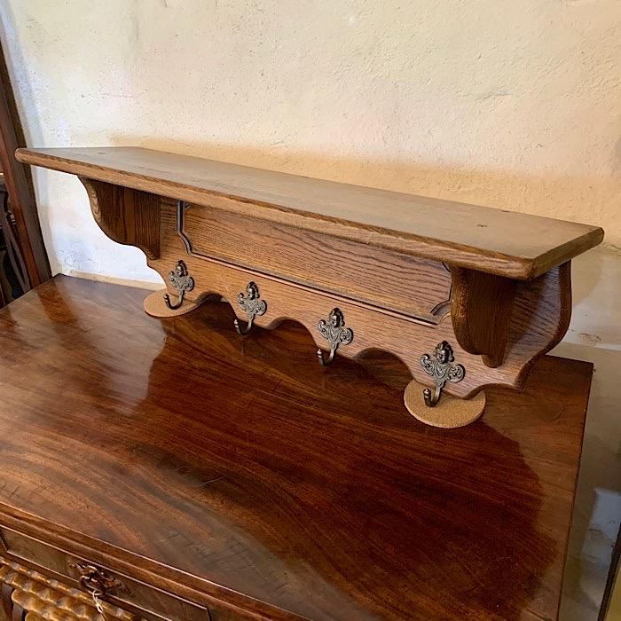 Vintage Carved Oak Coat Rack