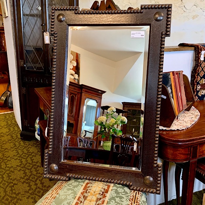 Vintage Carved Oak Framed Mirror