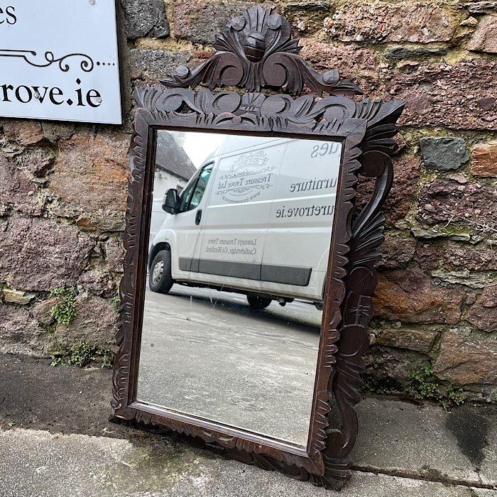 Vintage Carved Oak Mirror