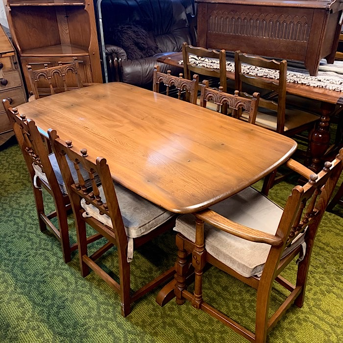 Vintage Ercol Golden Dawn Elm & Beech Dining Suite
