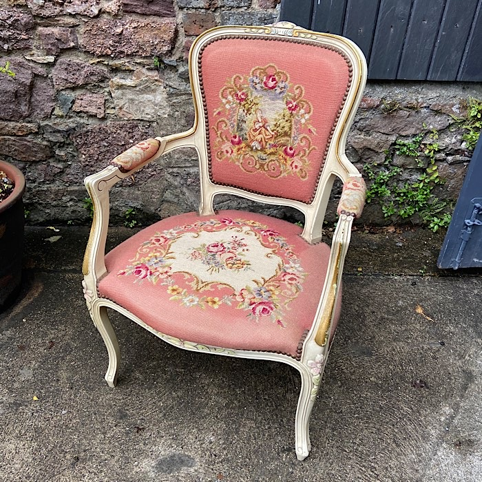 Vintage French Needlepoint Armchair