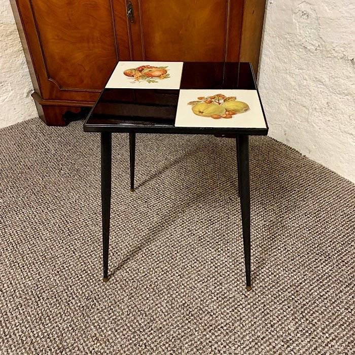 Vintage Fruit Tile Top Metal Table