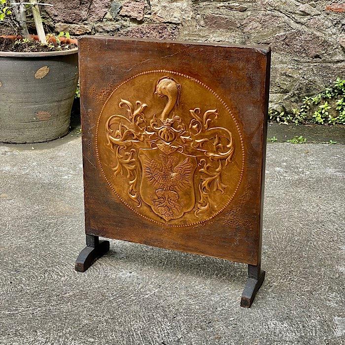 Vintage Hammered Copper & Oak Firescreen