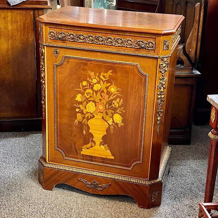 Vintage Inlaid & Carved Cabinet