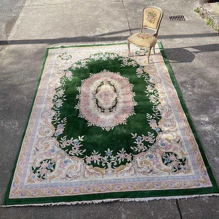 Vintage Large Green Handmade Rug