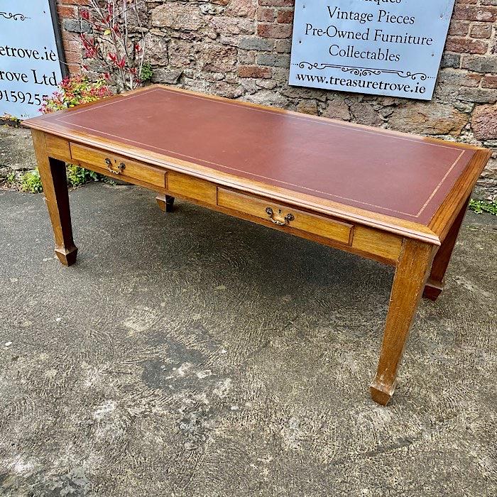 Vintage Leather Top Partners Desk
