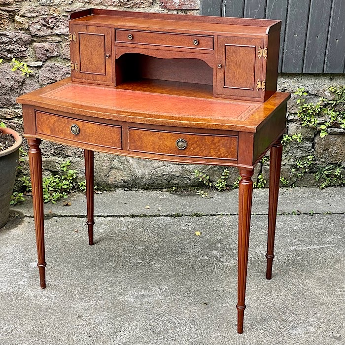 Vintage Mahogany And Red Leather Topped Bonheur Du Jour