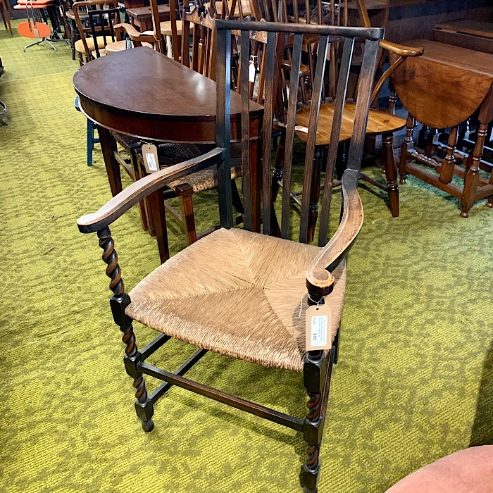 Vintage Oak Barleytwist Rush Seat Armchair