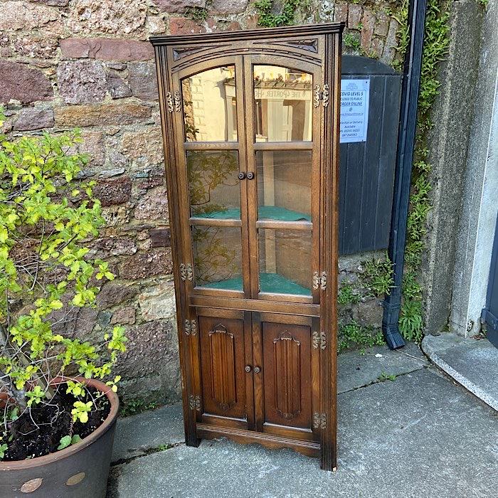 Vintage Oak Freestanding Corner Cabinet