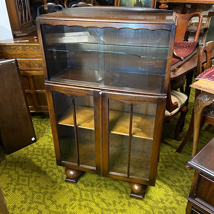 Vintage Oak Glazed Bookcase
