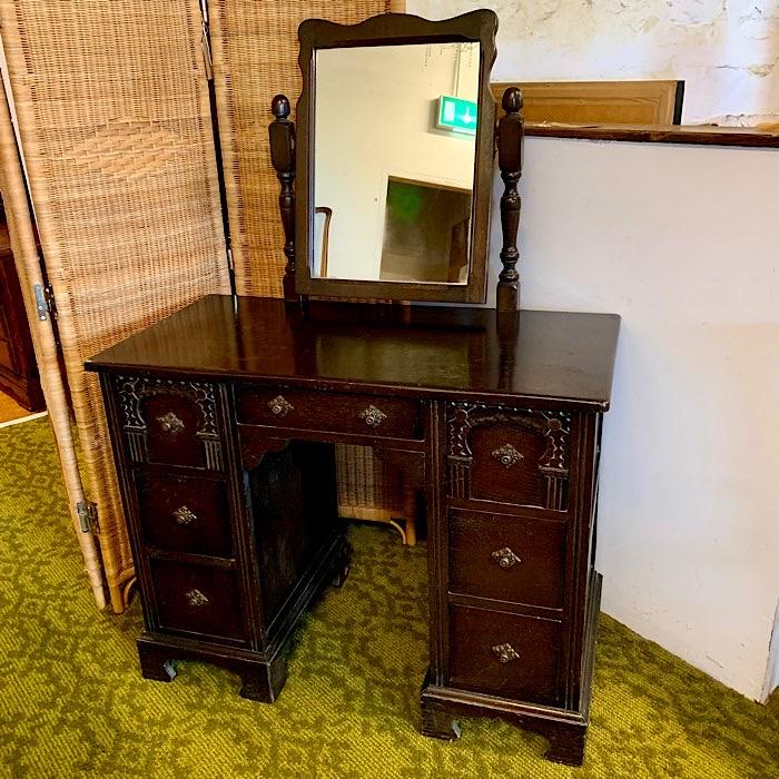 Vintage Oak Knee Hole Dressing Table